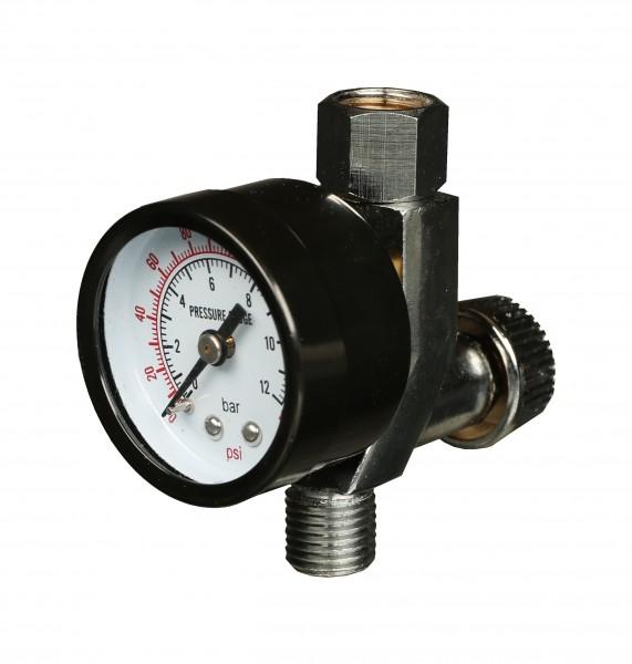 """AllorA Mikrometer mit Manometer 1/4"""" IG und 1/4"""" AG"""